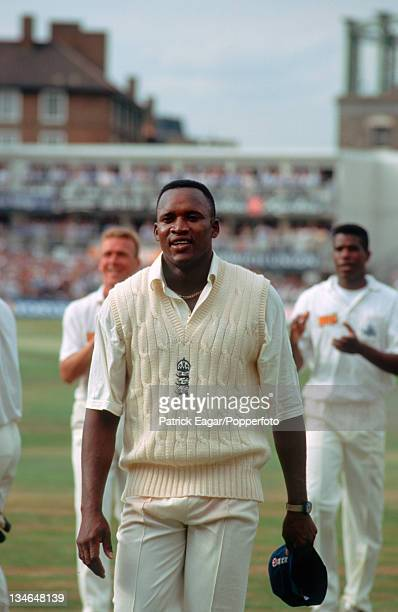 Devon Malcolm at the end of the Test behind are Alec Stewart and Joey Benjamin England v South Africa 3rd Test The Oval Aug 94