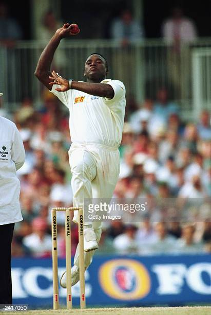 Devon Malcolm of England bowling during his 9 for 57 in the second innings of the Third test between England and South Africa on August 22 1994 at...