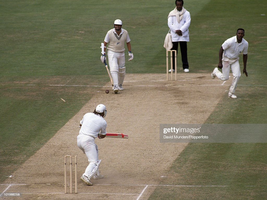 Devon Malcolm takes the decisive wicket of New Zealand's Danny Morrison to win the match for England on the fifth day of the 3rd Test match at Edgbaston in Birmingham, 5th July 1990. England won by 114 runs.