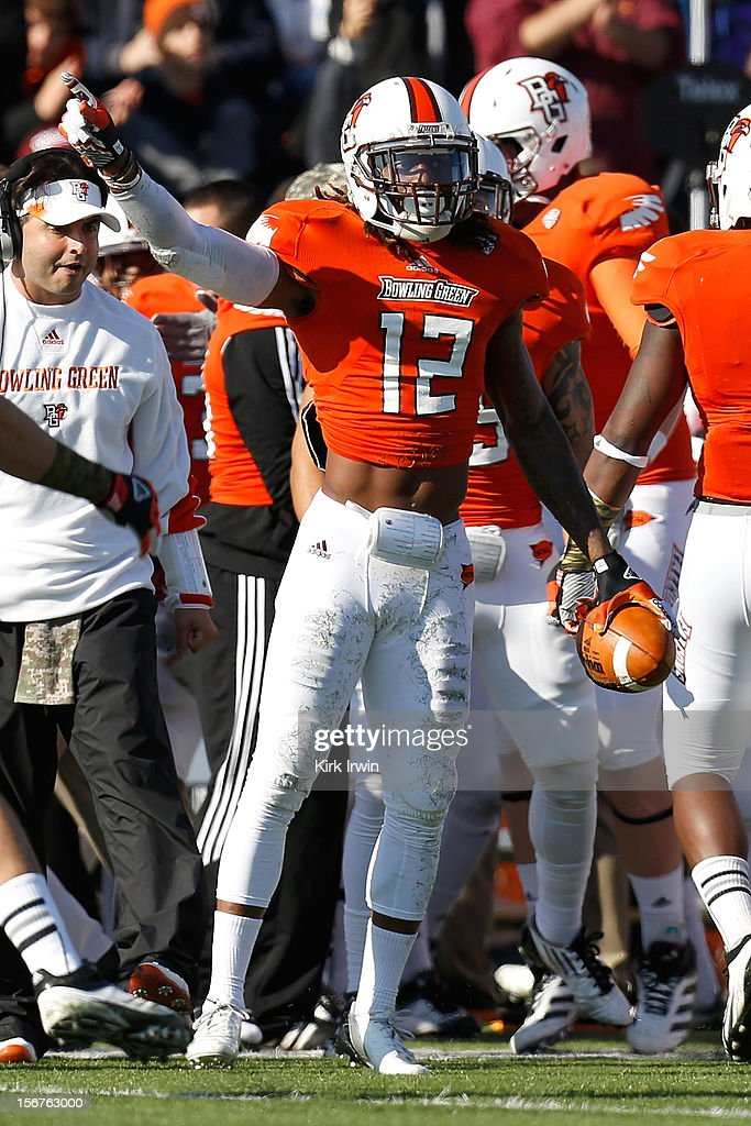 DeVon McKoy #12 of the Bowling Green Falcons signals that he recovered a loose football during the game against the Kent State Golden Flashes on November 17, 2012 at Doyt Perry Stadium in Bowling Green, Ohio.