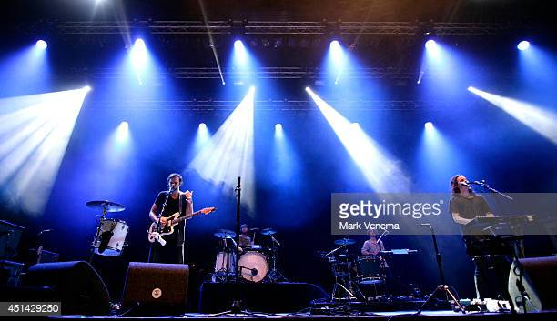Devon Portielje and Conner Molander of Half Moon Run perform at Day 2 of Down The Rabbit Hole Festival at De Groene Heuvels on June 28 2014 in...