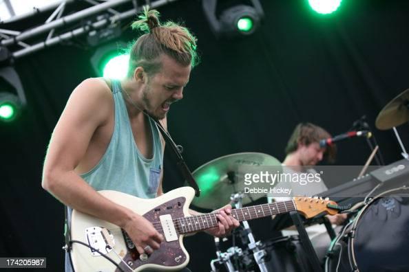 Devon Portielje of Half Moon Run performs at Longitude Festival at Marlay Park on July 21 2013 in Dublin Ireland