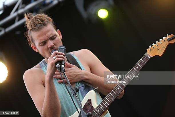 Devon Portielje of Half Moon Run performs at Longitude Festival at Marlay Park on July 21 2013 in Dublin Ireland