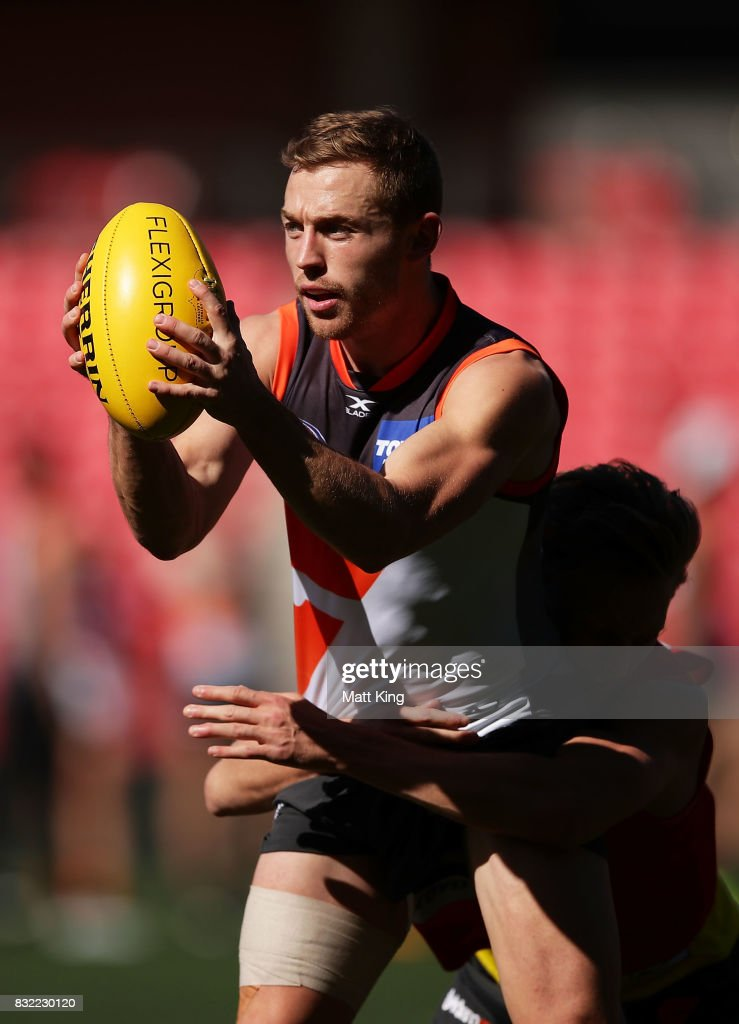 Devon Smith of the Giants handles the ball during a Greater Western Sydney Giants AFL training session at Spotless Stadium on August 16, 2017 in Sydney, Australia.