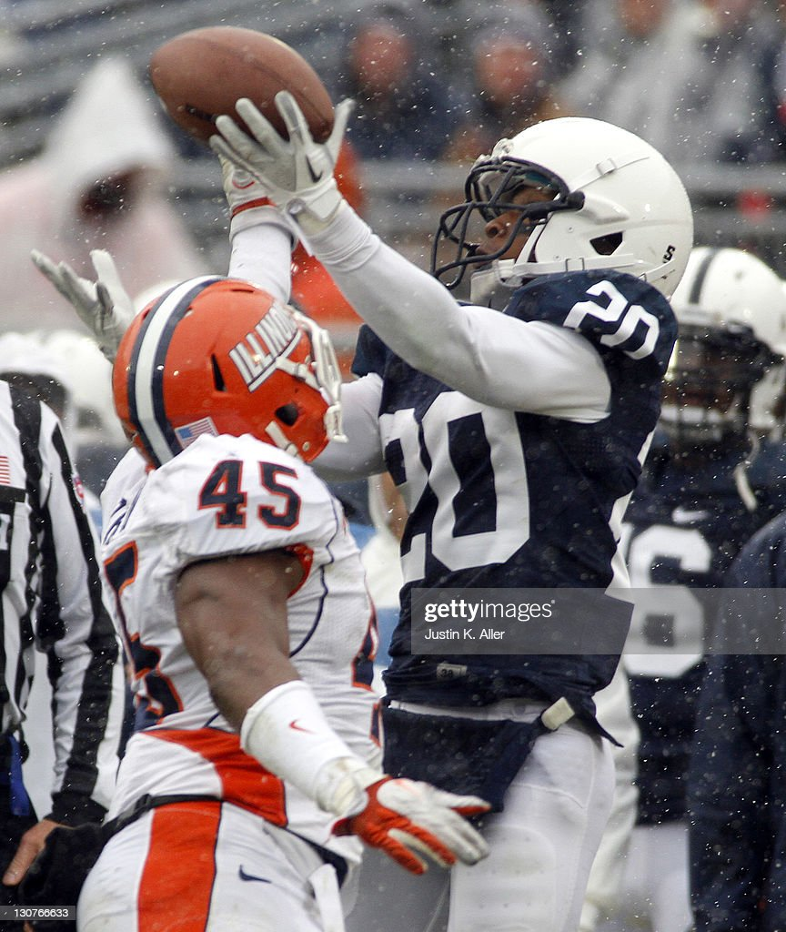 Devon Smith #20 of the Penn State Nittany Lions catches a pass that is later ruled an incomplete pass against the Illinois Fighting Illini during the game on October 29, 2011 at Beaver Stadium in State College, Pennsylvania.