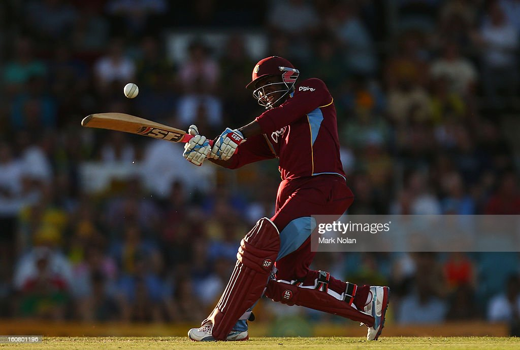 Devon Thomas of the West Indies bats during the Commonwealth Bank One Day International Series between Australia and the West Indies at Manuka Oval on February 6, 2013 in Canberra, Australia.