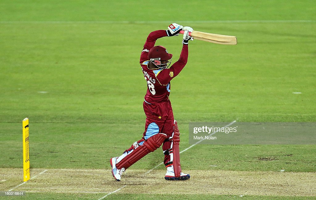Devon Thomas of the West Indies bats during the International Tour Match between the Prime Minister's XI and West Indies at Manuka Oval on January 29, 2013 in Canberra, Australia.
