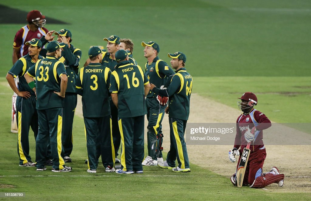 Devon Thomas of the West Indies kneels on the ground after he was run out by James Faulkner of Australia during game five of the Commonwealth Bank International Series between Australia and the West Indies at Melbourne Cricket Ground on February 10, 2013 in Melbourne, Australia.