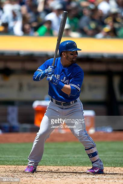 Devon Travis of the Toronto Blue Jays at bat against the Oakland Athletics during the fifth inning at Oco Coliseum on July 23 2015 in Oakland...