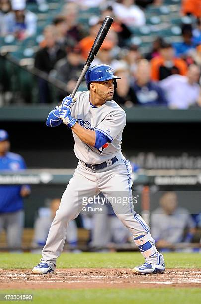 Devon Travis of the Toronto Blue Jays bats against the Baltimore Orioles at Oriole Park at Camden Yards on May 13 2015 in Baltimore Maryland