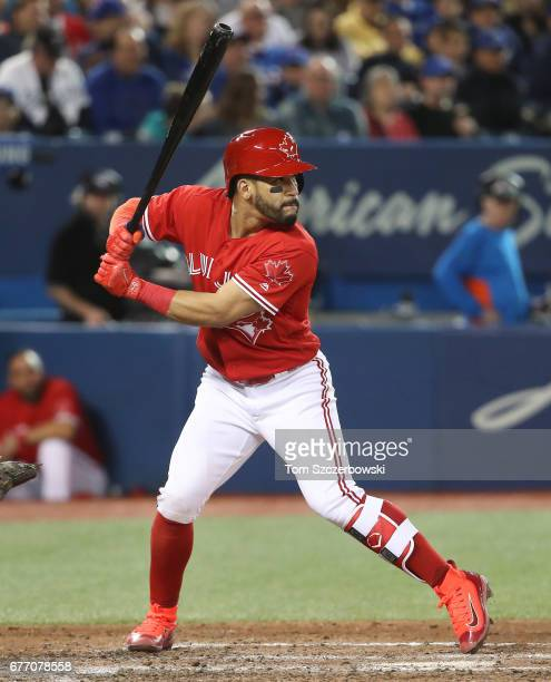 Devon Travis of the Toronto Blue Jays bats in the seventh inning during MLB game action against the Tampa Bay Rays at Rogers Centre on April 30 2017...