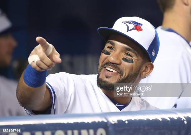 Devon Travis of the Toronto Blue Jays before the start of their MLB game against the Milwaukee Brewers at Rogers Centre on April 11 2017 in Toronto...