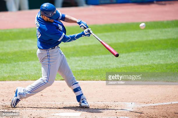 Devon Travis of the Toronto Blue Jays hits a grand slam home run during the fourth inning against the Cleveland Indians at Progressive Field on May 3...