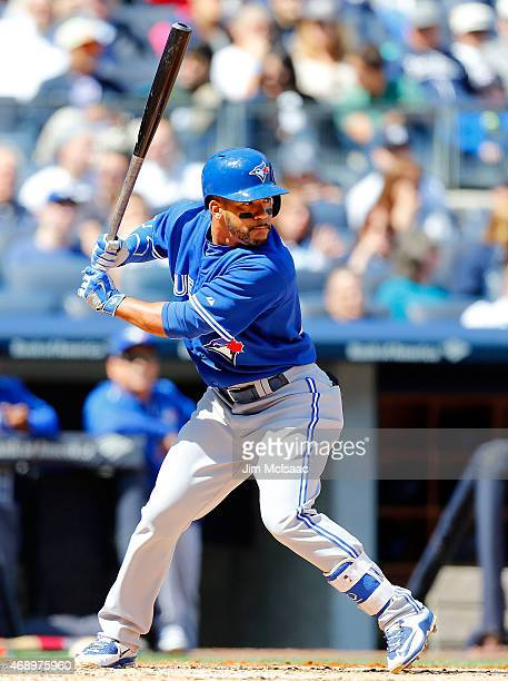 Devon Travis of the Toronto Blue Jays in action against the New York Yankees at Yankee Stadium on April 6 2015 in the Bronx borough of New York City...