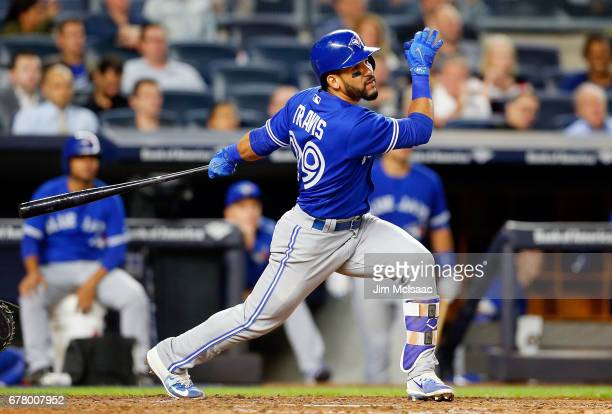 Devon Travis of the Toronto Blue Jays in action against the New York Yankees at Yankee Stadium on May 1 2017 in the Bronx borough of New York City...