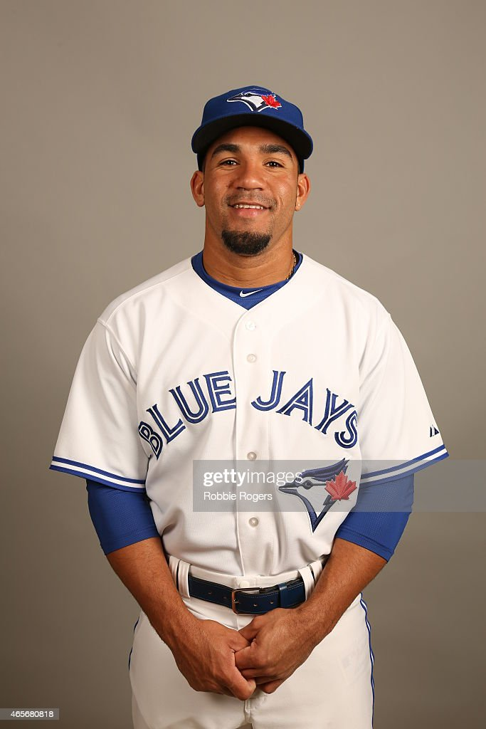 Devon Travis #77 of the Toronto Blue Jays poses during Photo Day on Saturday, February 28, 2015 at Florida Auto Exchange Stadium in Dunedin, Florida.