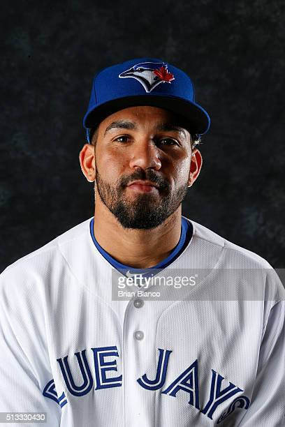Devon Travis of the Toronto Blue Jays poses for a photo during the Blue Jays' photo day on February 27 2016 in Dunedin Florida