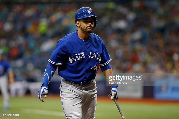 Devon Travis of the Toronto Blue Jays strikes out swinging during the third inning of a game against the Tampa Bay Rays on April 26 2015 at Tropicana...
