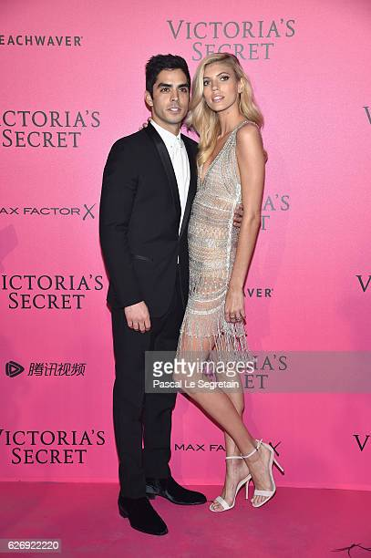 Devon Windsor and guest attends the 2016 Victoria's Secret Fashion Show after party on November 30 2016 in Paris France