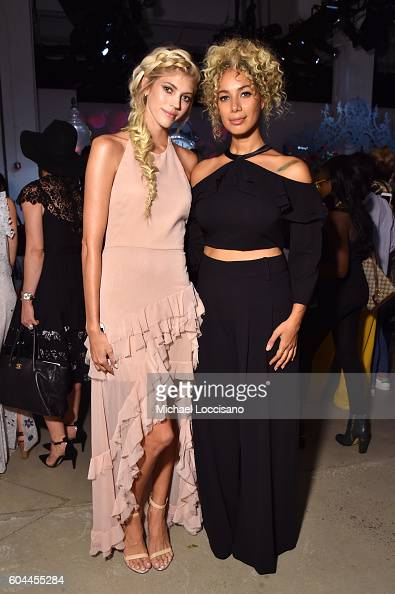 Devon Windsor and Leona Lewis attend the Alice Olivia by Stacey Bendet Spring/Summer 2017 Presentation during New York Fashion Week September 2016 at...