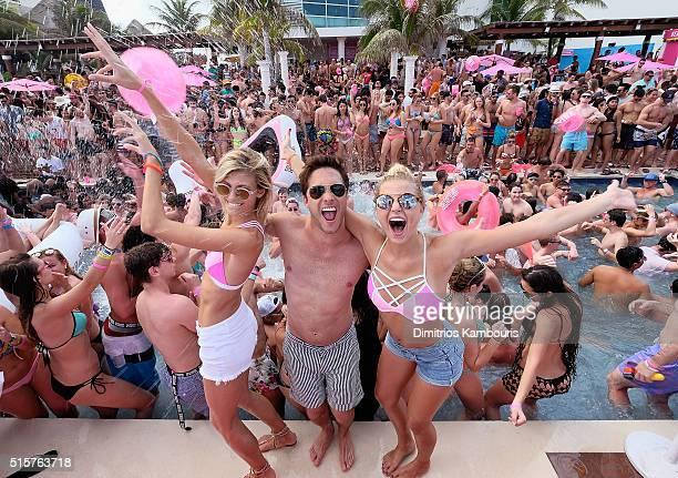 Devon Windsor Diego Boneta and Rachel Hilbert attend Victoria's Secret PINK Nation Spring Break Beach Party in Cancun Mexico on March 15 2016 in...