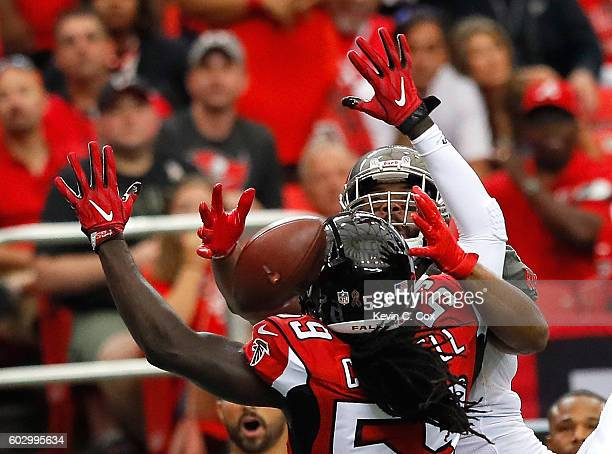De'Vondre Campbell of the Atlanta Falcons is flagged for pass interference as he breaks up a pass intended for Austin SeferianJenkins of the Tampa...