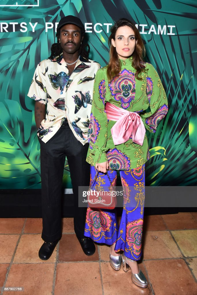 Dev Hynes and Ana Kras attend Artsy Projects Miami VIP at The Bath Club on December 6, 2017 in Miami Beach, Florida.