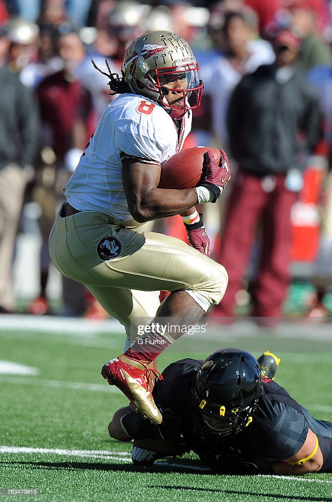 Devonta Freeman #8 of the Florida State Seminoles rushes the ball against the Maryland Terrapins at Byrd Stadium on November 17, 2012 in College Park, Maryland.