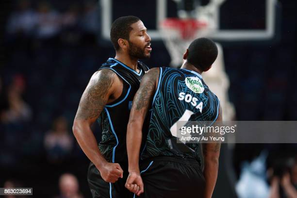 Devonte DJ Newbill and Edgar Sosa of the Breakers celebrate during the round three NBL match between the New Zealand Breakers and the Sydney Kings at...