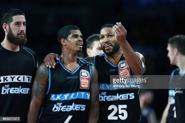 Devonte DJ Newbill and Edgar Sosa of the Breakers share a moment during the round three NBL match between the New Zealand Breakers and the Sydney...
