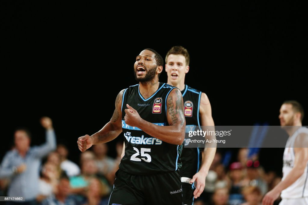 Devonte DJ Newbill and Tom Abercrombie of the Breakers celebrate a basket late in the game during the round nine NBL match between the New Zealand Breakers and the Brisbane Bullets at Spark Arena on December 7, 2017 in Auckland, New Zealand.
