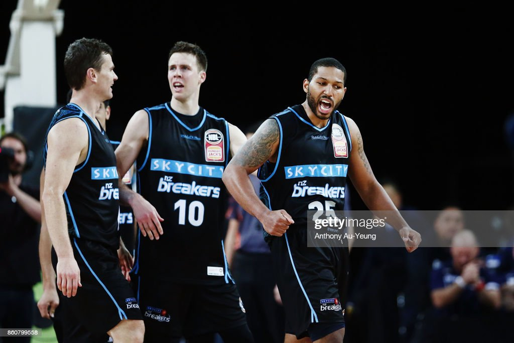 Devonte DJ Newbill of the Breakers celebrates after scoring the winning and-one basket during the round two NBL match between the New Zealand Breakers and the Sydney Kings at Spark Arena on October 13, 2017 in Auckland, New Zealand.