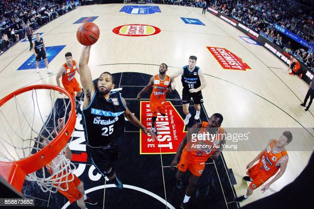 Devonte DJ Newbill of the Breakers goes up for a dunk during the round one NBL match between the New Zealand Breakers and the Cairns Taipans at Spark...