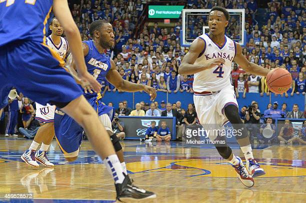 Devonte Graham of the the Kansas Jayhawks during a game against the UC Santa Barbara Gauchos at Allen Fieldhouse on November 14 2014 in Lawrence...