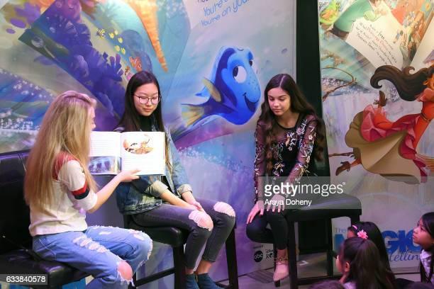 DeVore Ledridge Madison Hu and Olivia Rodrigo attend the Disney Reads Day at the Disney Store on February 4 2017 in Glendale California