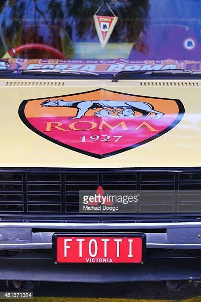 A devoted AS Roma fan shows off his car with Franscesco Totti number plates during an AS Roma training session at Lakeside Stadium on July 20 2015 in...