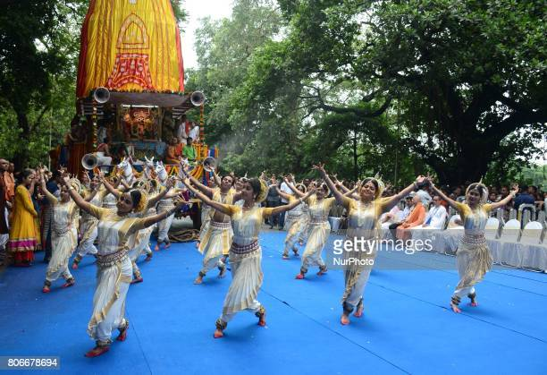 Devotees dances with Lord Krishna chant on the occasion Ratha Yatra festival on the last day of week long Ratha Yatra festival or chariot festival...