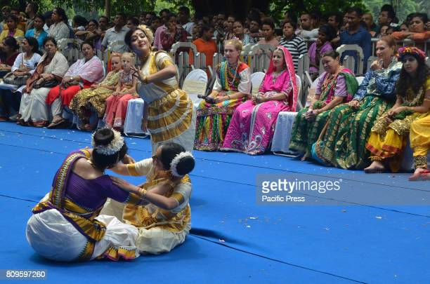 Devotees dancing Odissi West Bengal Chief Minister Mamata Banerjee with ample of devotees take part on pulling the chariot of lord Jagannath of Iskon...