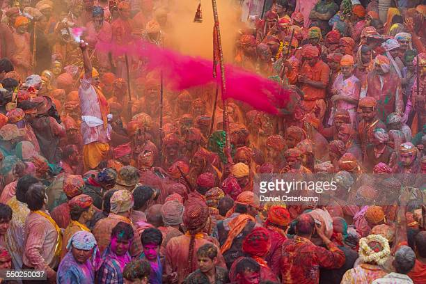 Devotees in Krishna temple during Lathmaar holi