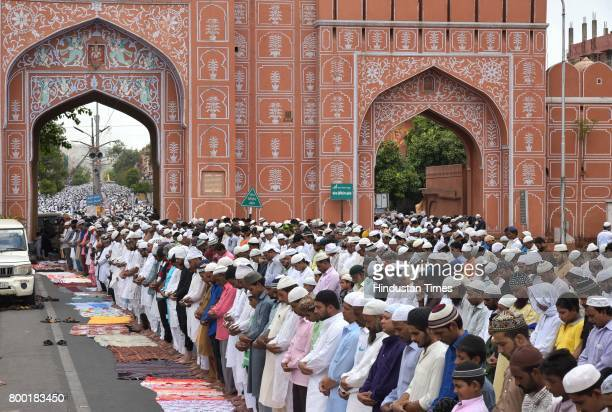 Devotees offer prayers of the last friday in the holy month of Ramjan on June 23 2017 in Jaipur India