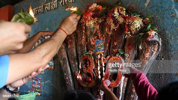 NAGPOKHARI KATHMANDU NEPAL Devotees offer prayers with milk to idol of snake during Nag Panchami festival at at Nag Pokhari in Kathmandu Nepal Nag...