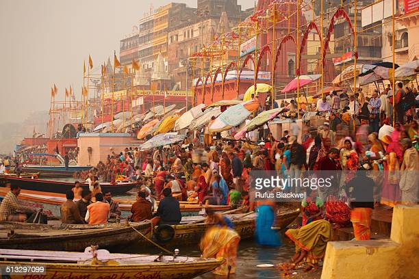 Devotees on the banks of the Gangees