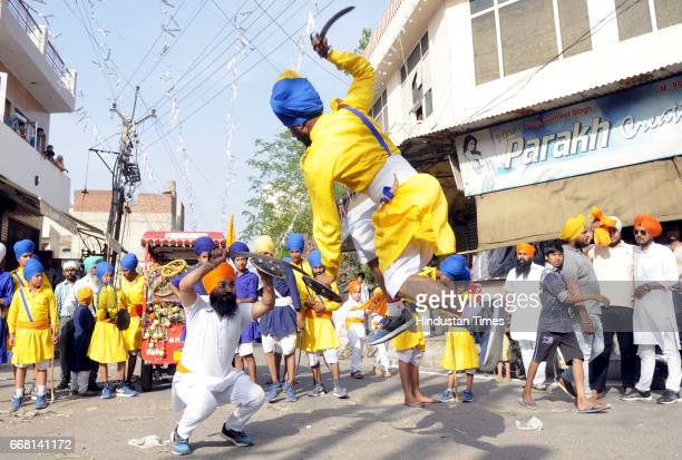Devotees Playing Gatka on the occasion of Baisakhi festival on April 13 2017 in Patiala India Baisakhi is a historical and religious festival in...