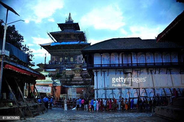 SQUARE KATHMANDU NEPAL KATHMANDU NP NEPAL Devotees queuing at Taleju Temple to pay respect towards goddess on the occasion of Navami ninth day of...