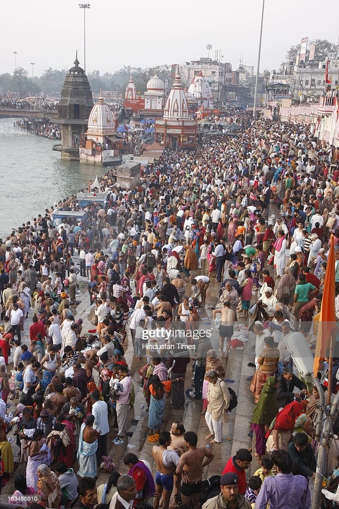 Devotees thronged at Hari ki paudi on the bank of Ganga to take holi dips on the occasion of Maha Shivratri on March 10, 2013 in Haridwar, India. Literally meaning great night of Shiva or the night of Shiva, Maha Shivaratri is celebrated every year on the 13th night/14th day of the Maagha or Phalguna month of the Hindu calendar. According to Hindu legends this is day of Samundra Manthan as well as day of Marriage of Lord Shiva to Devi Parvati.