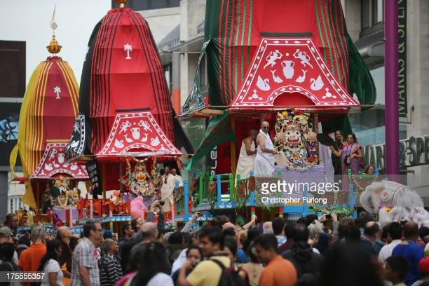 Devotee's to the Hare Krishna faith lead the Rathayatra procession through the streets on August 4 2013 in Leicester England Devotees of Lord Krishna...