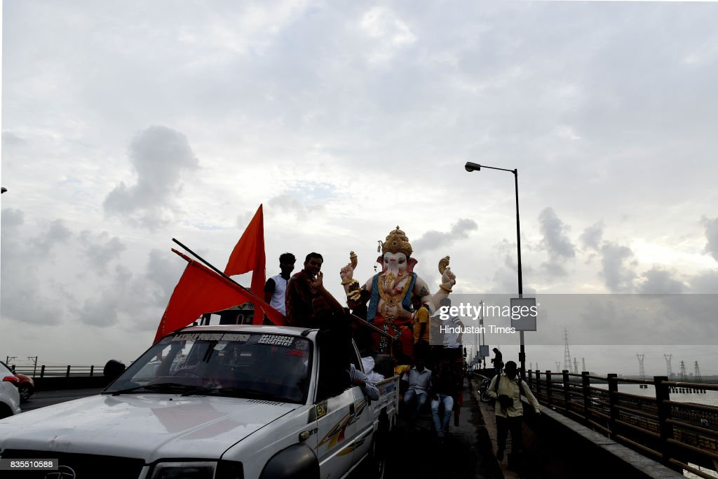 Devotees welcome Lord Ganpati with traditions dhol and tasha band at Vashi, on August 18, 2017 in Mumbai, India. Ganesh Chaturthi is the Hindu festival celebrated in the honour of the elephant-headed God, Ganesha.