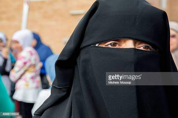 A devout woman wearing a niqab at Lakemba Mosque during Eid alAdhaat Lakemba Mosque in Lakemba during Eid alAdha on October 4 2014 in Sydney...