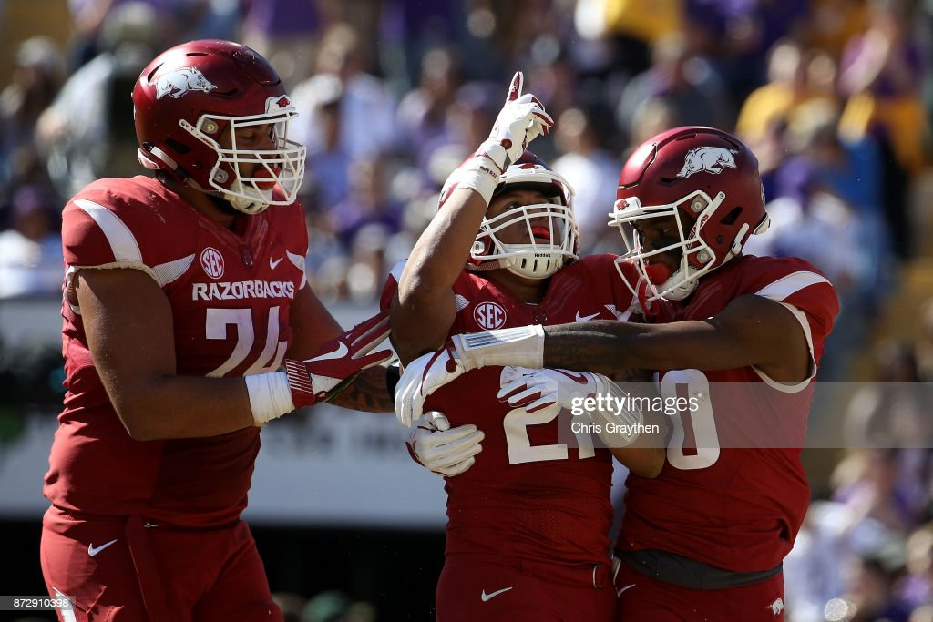 Devwah Whaley #21 of the Arkansas Razorbacks reacts after scoring a touchdown against the LSU Tigers at Tiger Stadium on November 11, 2017 in Baton Rouge, Louisiana.