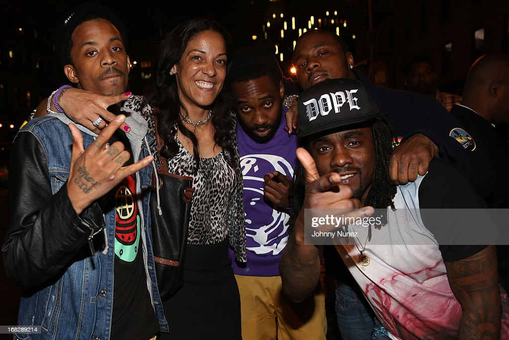 Dew Baby, Steph Lova, Black Cobain, guest and Wale attend the French Montana Album listening party at HiLo on May 7, 2013 in New York City.